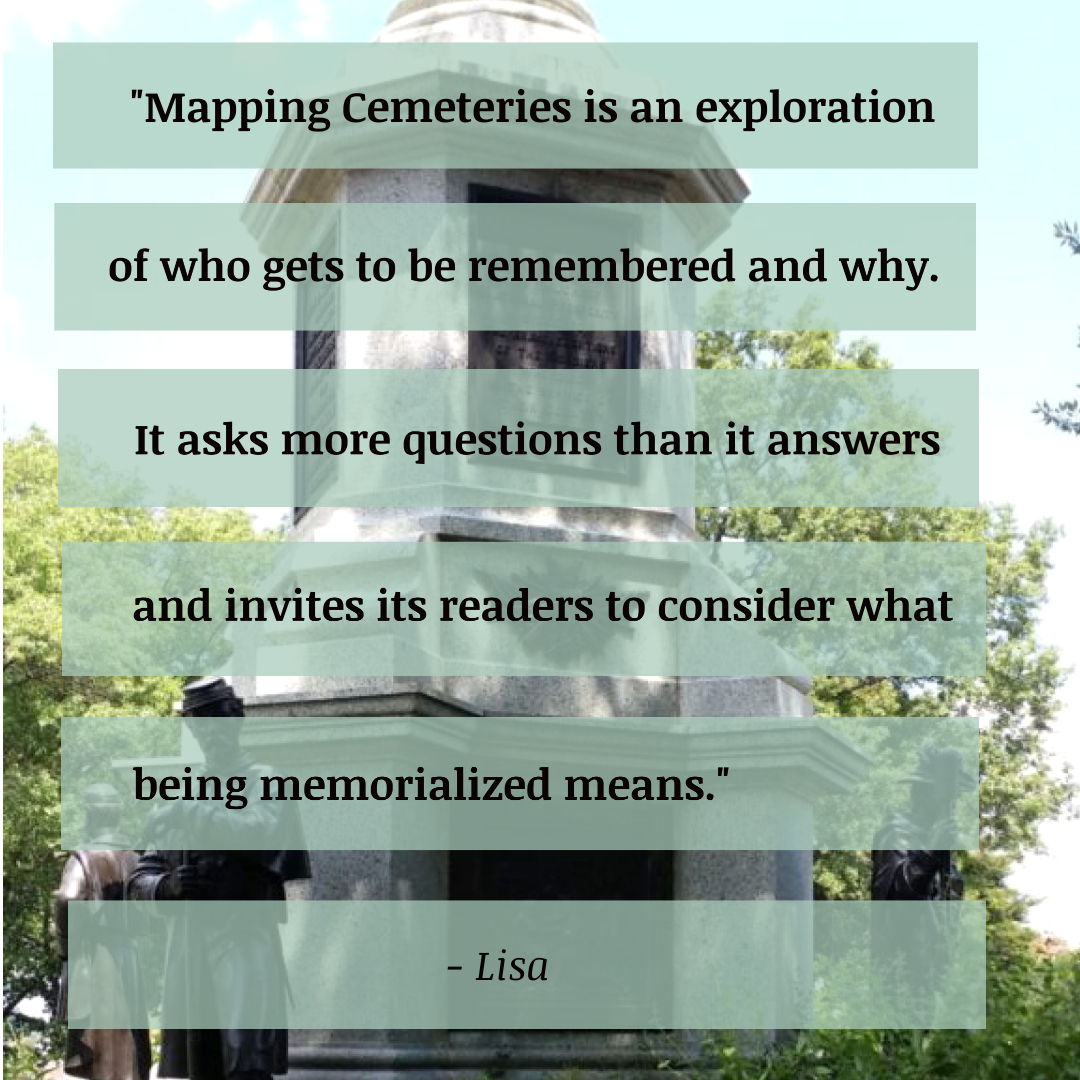 Civil War Memorial in Greenwood Cemetery with Lisa's Definition of Mapping Cemeteries